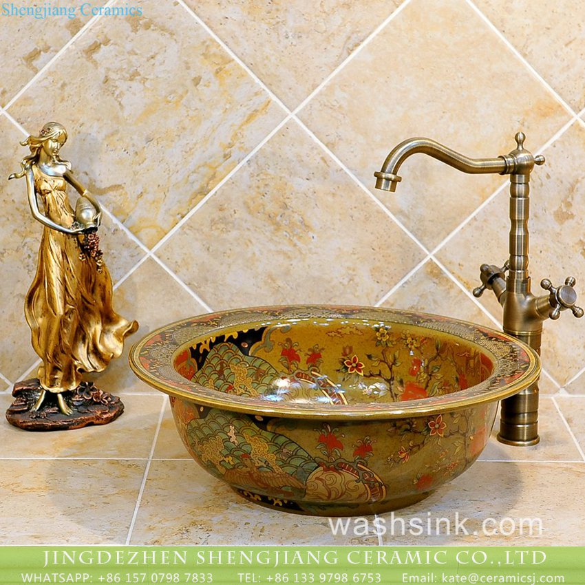 TXT20B-2 Popular sale item Jingdezhen factory outlet artistic hand made small corner sink with wide rim and floral and phoenix pattern on caramel color enamel TXT20B-2 - shengjiang  ceramic  factory   porcelain art hand basin wash sink