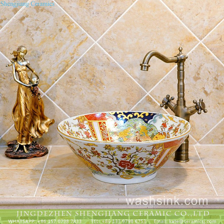 TXT24A-4 Popular China supply Chinese quaint style bamboo hat flared mouth shape colorful porcelain wash face lavabo with splendid enamel floral design on white glaze TXT24A-4 - shengjiang  ceramic  factory   porcelain art hand basin wash sink