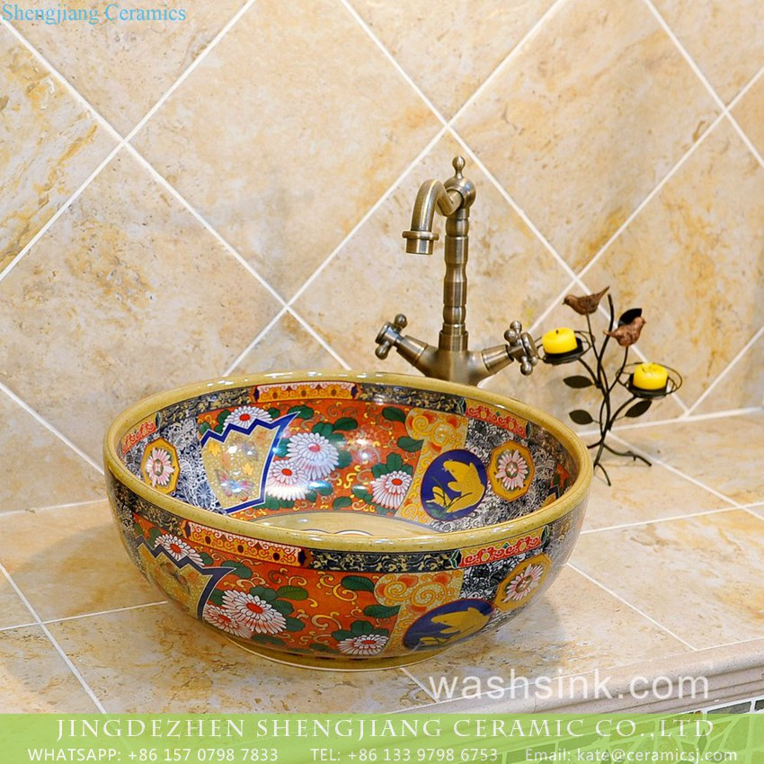 Made In Jingdezhen Ancient Chinese Vintage Style Interior Bathroom Round Ceramic  Sink Bowl With Fascinating Beautiful Caramel Color Flower Design On Enamel  ...