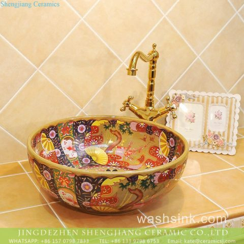 Jingdezhen produce local wholesale price Japanese retro quaint royal court style round gorgeous porcelain enamel art lavabo with various floral pattern TXT33B-3