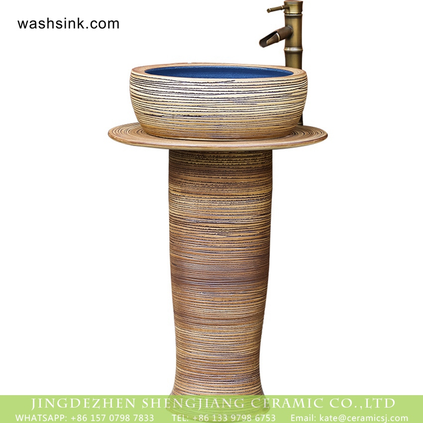 XHTC-L-3003-5 Luxury American garden style handicraft column pottery wash hand basin with deep blue glaze wall and carved striations on surface for courtyard decoration XHTC-L-3003 - shengjiang  ceramic  factory   porcelain art hand basin wash sink