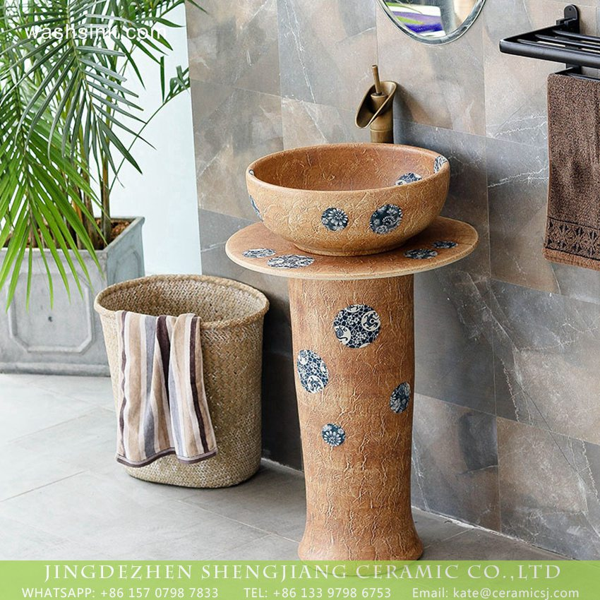 XHTC-L-3005-0 Industrial antique retro clay style hotel decoration outdoor high foot unitary vessel basin set with under glaze blue-and-white dot design XHTC-L-3005 - shengjiang  ceramic  factory   porcelain art hand basin wash sink