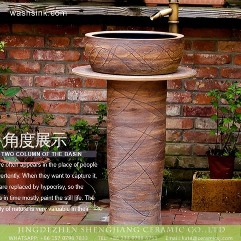 Shengjiang produce hotel decoration retro style one-piece pedestal sink wood grain glaze with imaginative hand draw waving line XHTC-L-3008