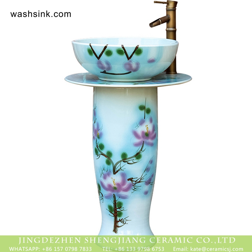 XHTC-L-3018-4 Elegant Chinese quaint country style hand craft one piece porcelain sanitary ware with pink magnolia denudata pattern on white glaze wall and surface XHTC-L-3018 - shengjiang  ceramic  factory   porcelain art hand basin wash sink