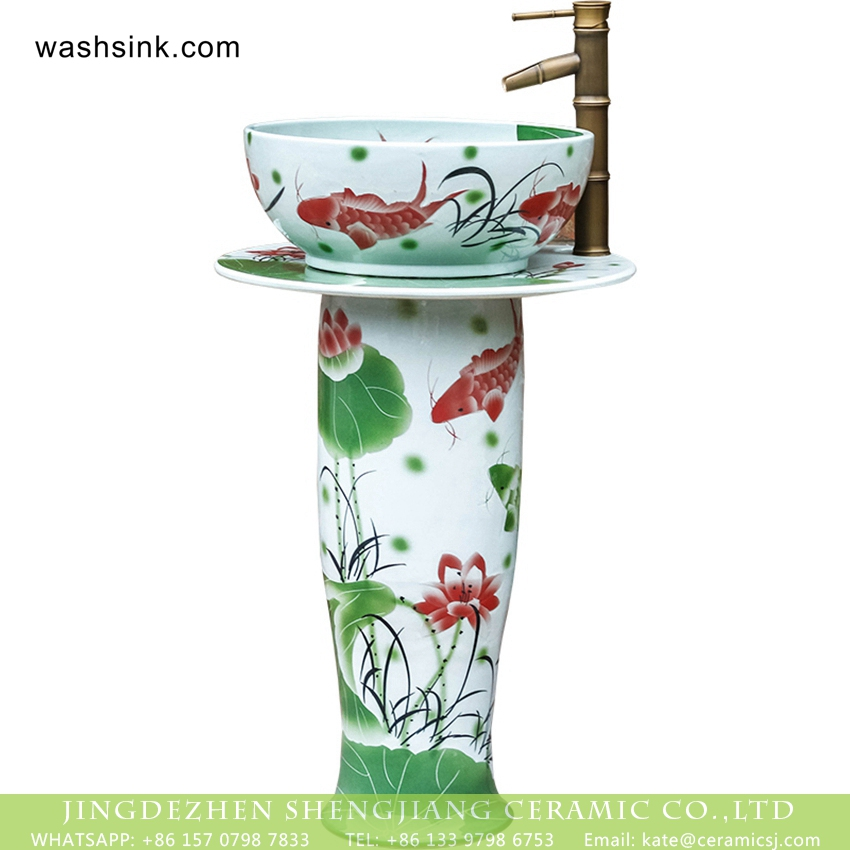 XHTC-L-3019-5 Jingdezhen wholesale supplier direct Chinoiserie country style ceramic column wash basin bowl with freehand sketching red carp and lotus pond pattern printing XHTC-L-3019 - shengjiang  ceramic  factory   porcelain art hand basin wash sink