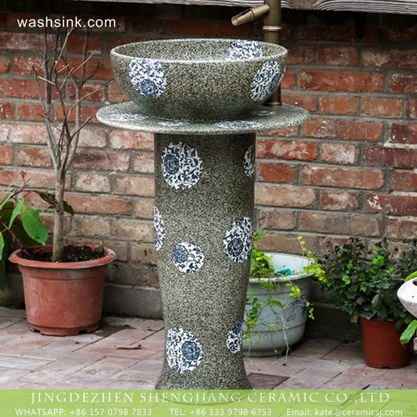 XHTC-L-3024-1 New model Jingdezhen product Chinese country style lavatory unitary pedestal art ceramic basin with blue-and-white floral pattern on grey color with spots wall and surface XHTC-L-3024 - shengjiang  ceramic  factory   porcelain art hand basin wash sink