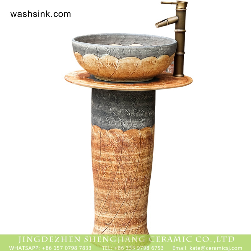 XHTC-L-3036-4 Chinese traditional retro country style outdoor domestic balcony washroom pottery one piece pedestal sink hand carved petal design gray and beign color XHTC-L-3036 - shengjiang  ceramic  factory   porcelain art hand basin wash sink