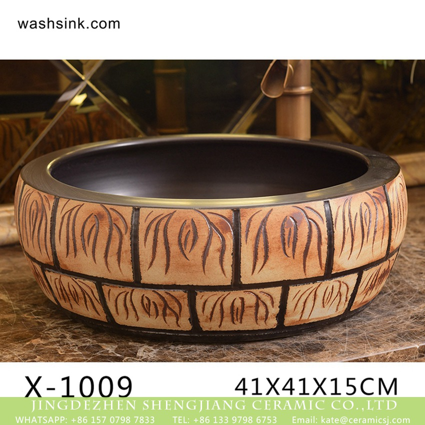 XHTC-X-1009-1 XHTC-X-1009-1 Factory direct wholesale artistic irregular ceramic wash basin - shengjiang  ceramic  factory   porcelain art hand basin wash sink