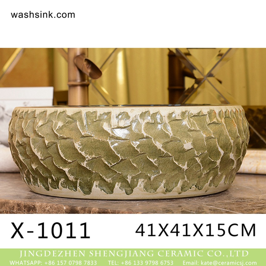 XHTC-X-1011-2-1 XHTC-X-1011-2 Hot Sales special design irregular shape sink antique ceramic wash basin - shengjiang  ceramic  factory   porcelain art hand basin wash sink
