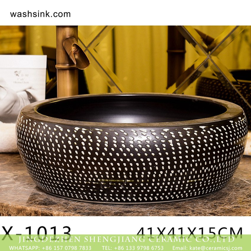 XHTC-X-1013-3 XHTC-X-1013-3 Chinese factory direct art ceramic brown bottom with white point toilet basin - shengjiang  ceramic  factory   porcelain art hand basin wash sink