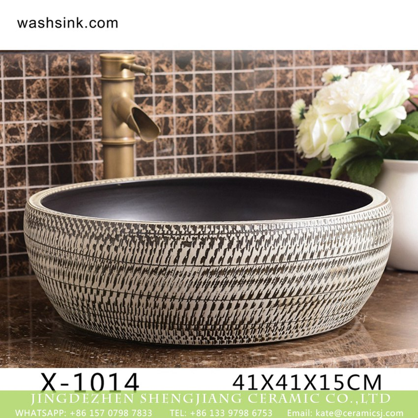 XHTC-X-1014-1 XHTC-X-1014-1 China traditional high quality ceramic black and white color wash sink basin - shengjiang  ceramic  factory   porcelain art hand basin wash sink