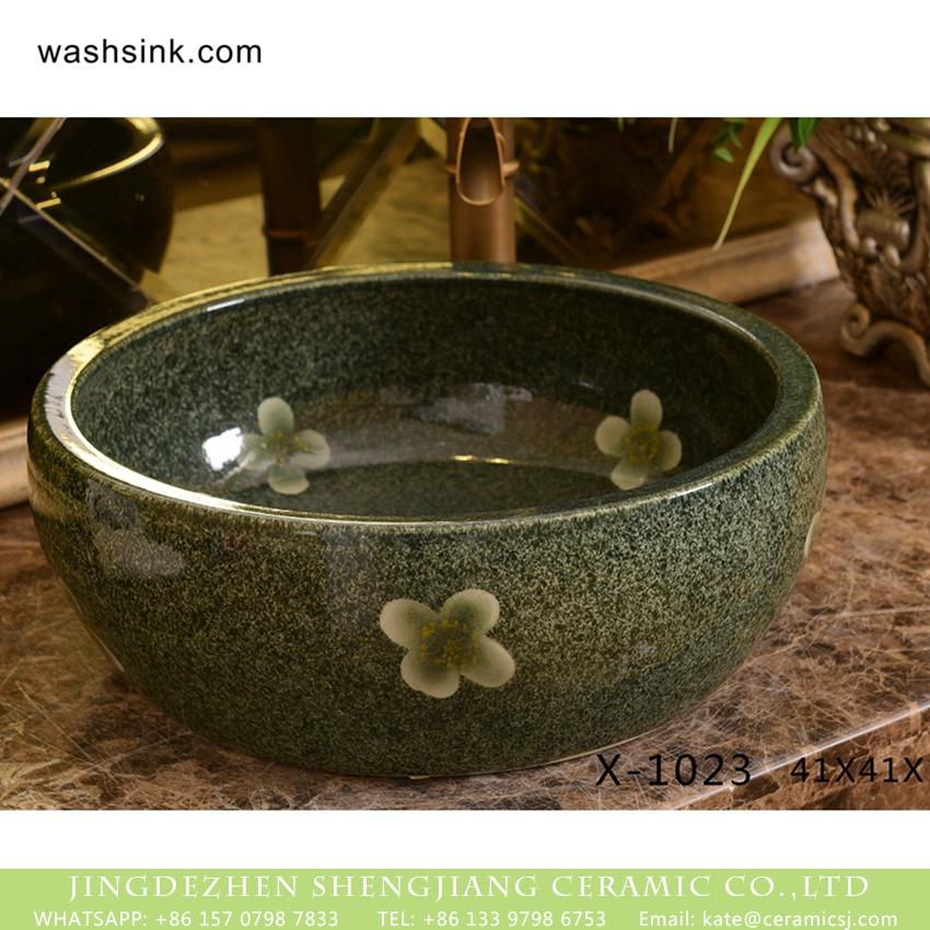 XHTC-X-1023-1 XHTC-X-1023-1 Jingdezhen Shengjiang ceramic factory high gloss antique round flowers pattern ceramic wash basin - shengjiang  ceramic  factory   porcelain art hand basin wash sink