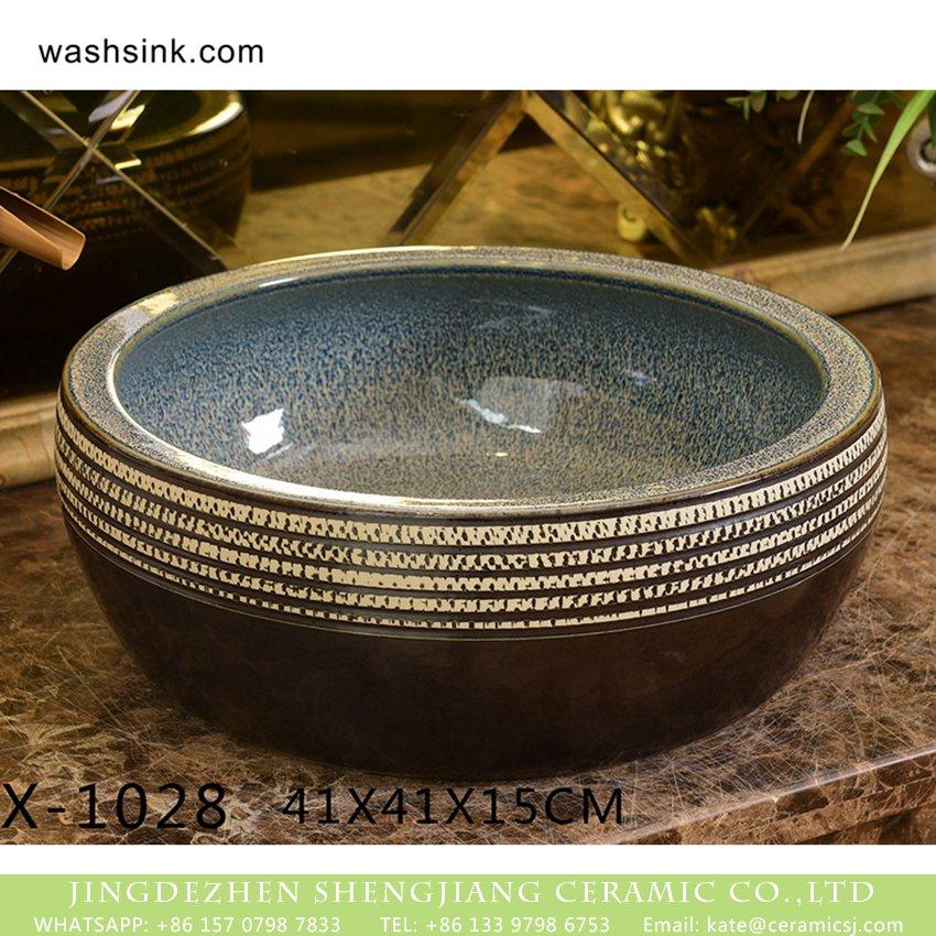 XHTC-X-1028-1 XHTC-X-1028-1 Jingdezhen factory direct wholesale high gloss art ceramic and white stripes wash basin - shengjiang  ceramic  factory   porcelain art hand basin wash sink