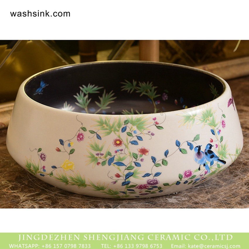 XHTC-X-1045-1 Jingdezhen factory direct bird flower series Japanese quaint style round gorgeous vanity sink with floral and bird pattern printing on black glaze wall and white glaze surface XHTC-X-1045-1 - shengjiang  ceramic  factory   porcelain art hand basin wash sink