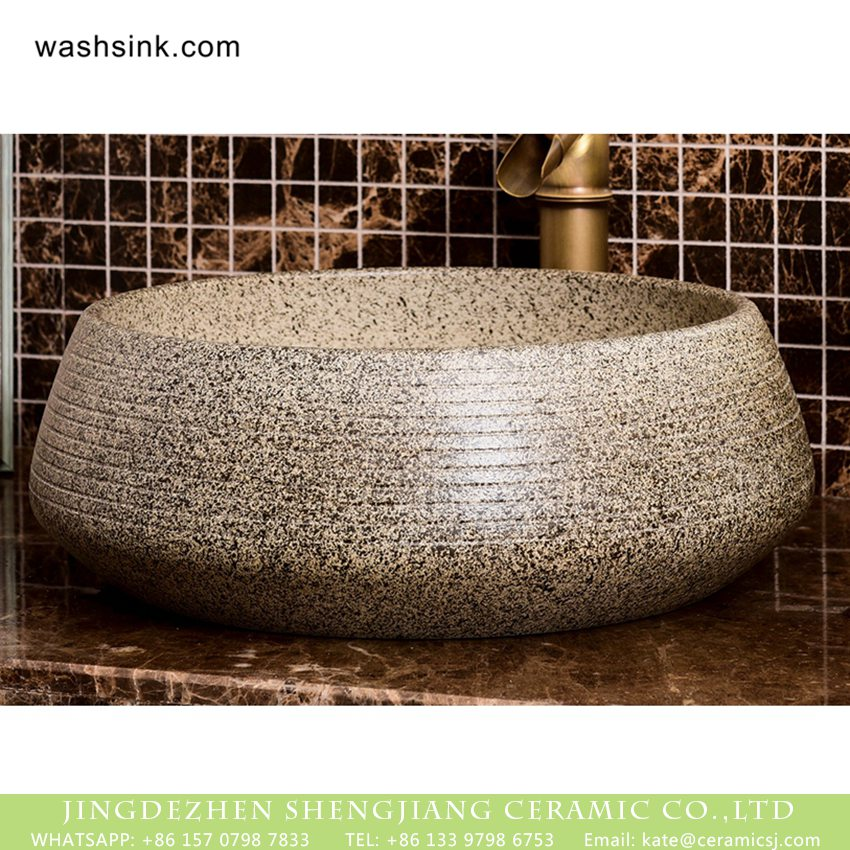 XHTC-X-1049-1 Shengjiang Ceramics factory direct Original vintage country style drum shape ceramic bathroom design vessel sink imitating marble with regular carved striations on surface XHTC-X-1049-1 - shengjiang  ceramic  factory   porcelain art hand basin wash sink