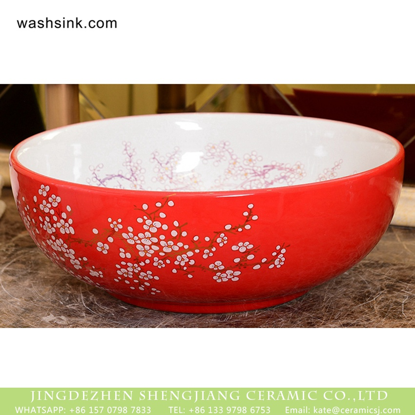 XHTC-X-1054-1 Wintersweet Series Elegant single hole Shengjiang factory direct Japanese artistic vintage oval ceramic wash basin with little scattered plum blossom pattern on white glaze wall and red glaze surface XHTC-X-1054-1 - shengjiang  ceramic  factory   porcelain art hand basin wash sink