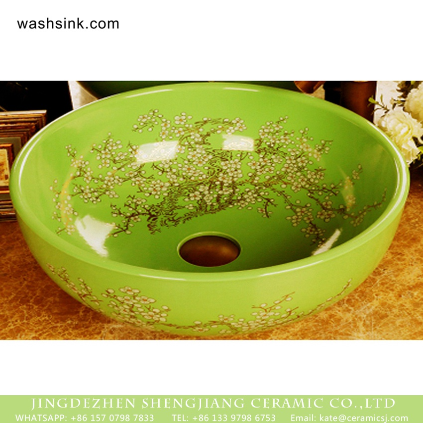 XHTC-X-1055-1 Wintersweet Series Elegant single hole Jingdezhen made Japanese style art quaint round bathroom ceramic table top sink with scattered plum blossom pattern on green glaze wall and surface XHTC-X-1055-1 - shengjiang  ceramic  factory   porcelain art hand basin wash sink