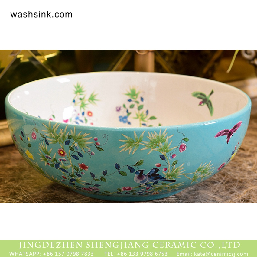 XHTC-X-1061-1 Shengjiang Ceramics bird flower series Jingdezhen made high quality bathroom ceramic famille rose countertop hand wash basin with beautiful floral and butterfly pattern on white glaze wall and turquoise glaze surface XHTC-X-1061-1 - shengjiang  ceramic  factory   porcelain art hand basin wash sink