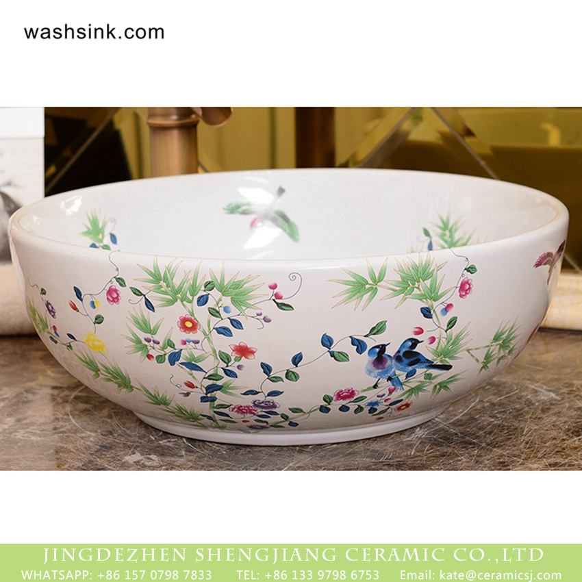 XHTC-X-1062-1 Ceramic Capital Shengjiang bird flower series China traditional high quality bathroom ceramic sanitary ware famille rose white with beautiful floral and butterfly pattern XHTC-X-1062-1 - shengjiang  ceramic  factory   porcelain art hand basin wash sink