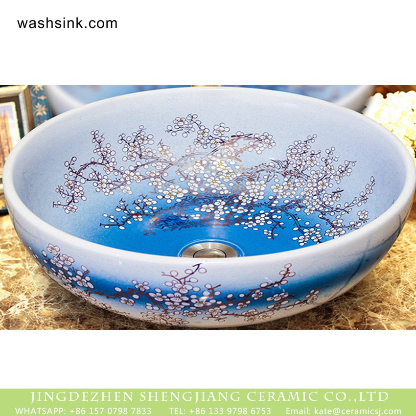 XHTC-X-1068-1-2 Shengjiang factory Mediterranean antique retro style round beautiful ceramic counter mounted single hole art basin gradient blue color glaze with large golden plum blossom pattern XHTC-X-1068-1 - shengjiang  ceramic  factory   porcelain art hand basin wash sink