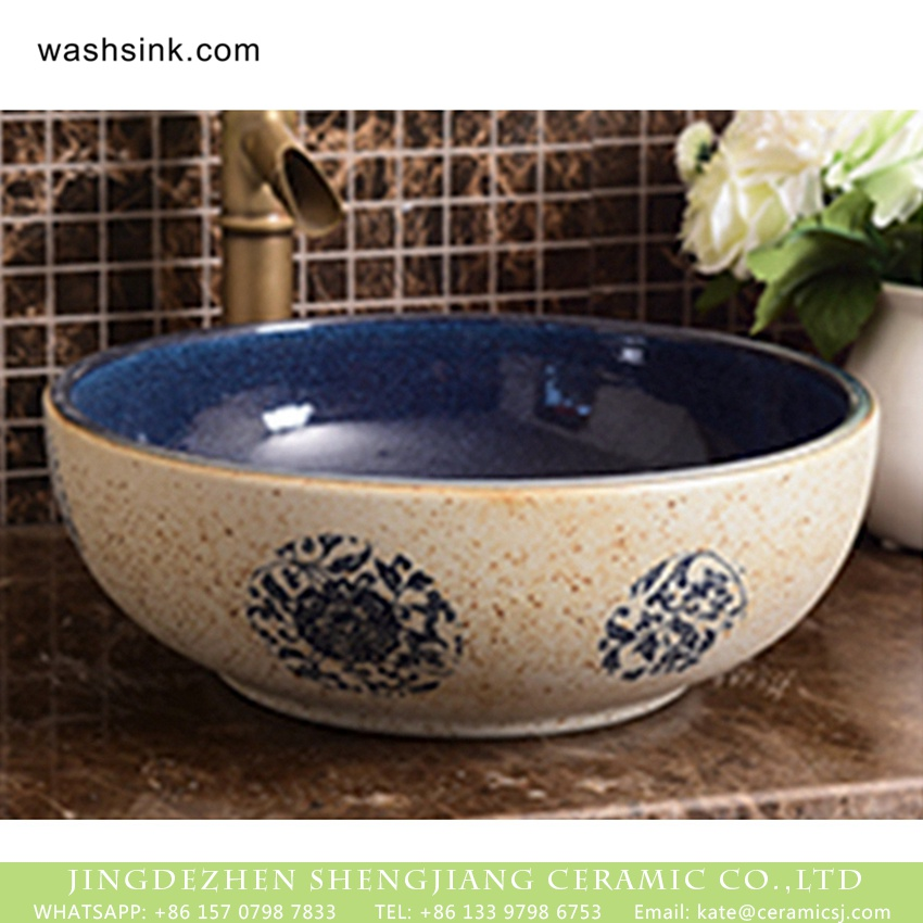 XHTC-X-1074-1 Jingdezhen factory wholesale price thin edge round quaint original art ceramic basin with smooth deep blue glaze wall and circular blue-and-white pattern on beign surface with spots XHTC-X-1074-1 - shengjiang  ceramic  factory   porcelain art hand basin wash sink