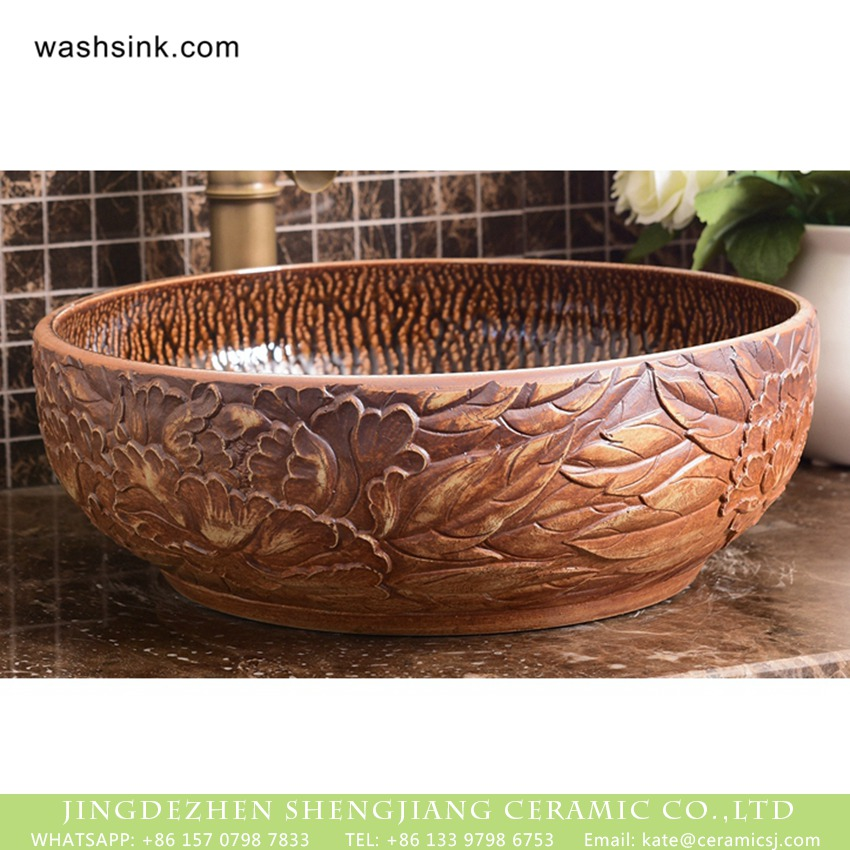 Roman style round ceramic lavabo with variable glaze wall and