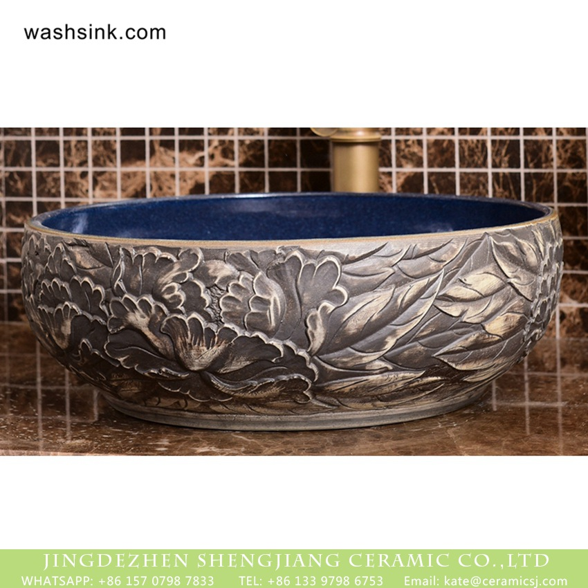 XHTC-X-1091-1 Jingdezhen Chinoiserie retro style round art ceramic wash hand basin with glaze matte deep blue wall and hand carved gray floral and leaf pattern on surface XHTC-X-1091-1 - shengjiang  ceramic  factory   porcelain art hand basin wash sink