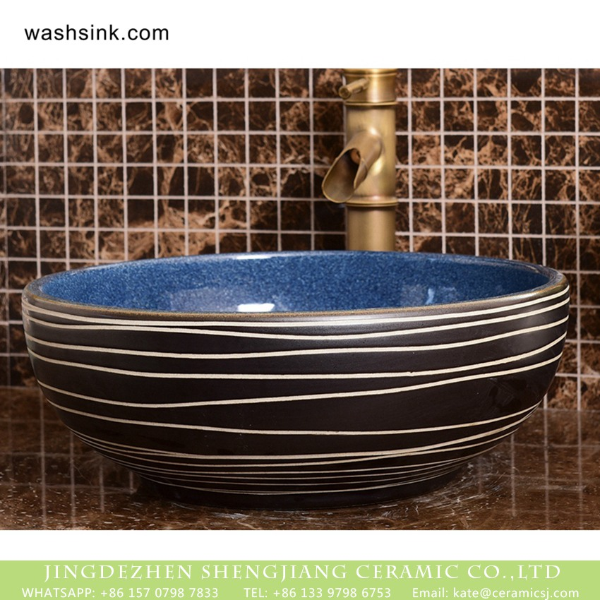 XHTC-X-2069-1 Shengjiang factory direct European country retro style original art round ceramic wash sink basin with glazed dark blue wall and black surface with white irregular lines XHTC-X-2069-1 - shengjiang  ceramic  factory   porcelain art hand basin wash sink