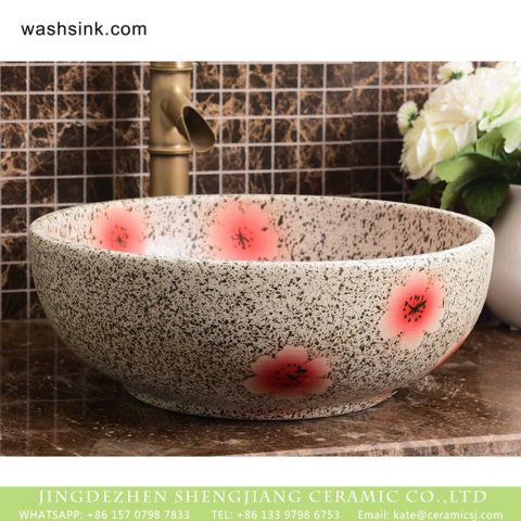 Wholesale European antique style round ceramic countertop vanity basin dull polish white with green spots and freehand sketching artistic color glazed typical floral pattern XHTC-X-2071-1