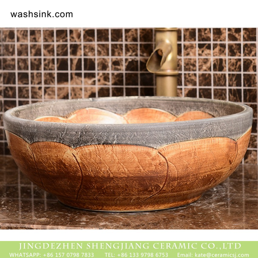 XHTC-X-2072-1 Hot sale  Shengjiang factory direct European retro style pure handmade porcelain bowl shape vanity basin wood color surface with carved wave pattern and stone color edge XHTC-X-2072-1 - shengjiang  ceramic  factory   porcelain art hand basin wash sink