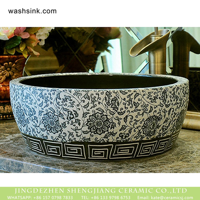 XHTC-X-2073-1-2 Chinoiserie quaint country style design drum shape ceramic table top sanitary ware black and white color surface with entangled floral branch pattern XHTC-X-2073-1 - shengjiang  ceramic  factory   porcelain art hand basin wash sink
