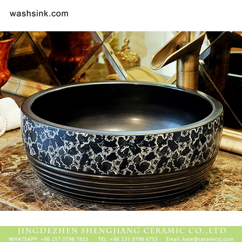 XHTC-X-2074-1 Made in Jingdezhen New product Chinese country style quaint retro drum shape ceramic toilet basin glaze black color with blue-and-white floral pattern and caved striations sanitary ware XHTC-X-2074-1 - shengjiang  ceramic  factory   porcelain art hand basin wash sink