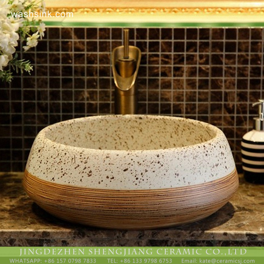 XHTC-X-2075-1 Ceramic capital hot sale Chinese style antique retro original art porcelain sink bowl white with black spots brown whorl lines on surface XHTC-X-2075-1 - shengjiang  ceramic  factory   porcelain art hand basin wash sink
