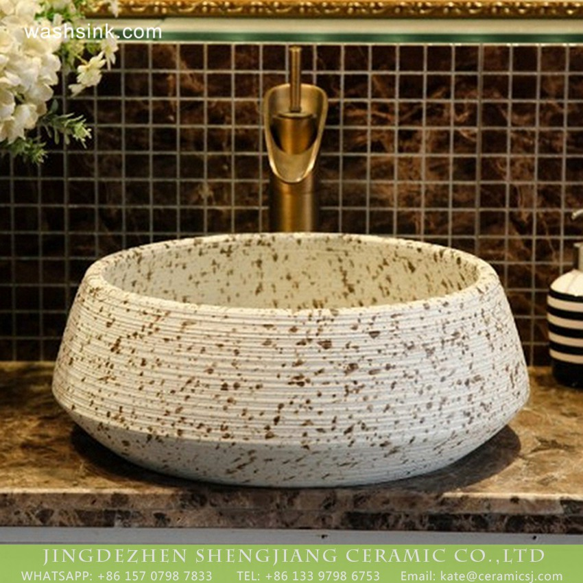 XHTC-X-2076-1 Shengjiang factory European antique style Chinese original porcelain bathroom design vessel sink imitating riverstones texture cream white with dark brown spots and hand carved fine lines XHTC-X-2076-1 - shengjiang  ceramic  factory   porcelain art hand basin wash sink