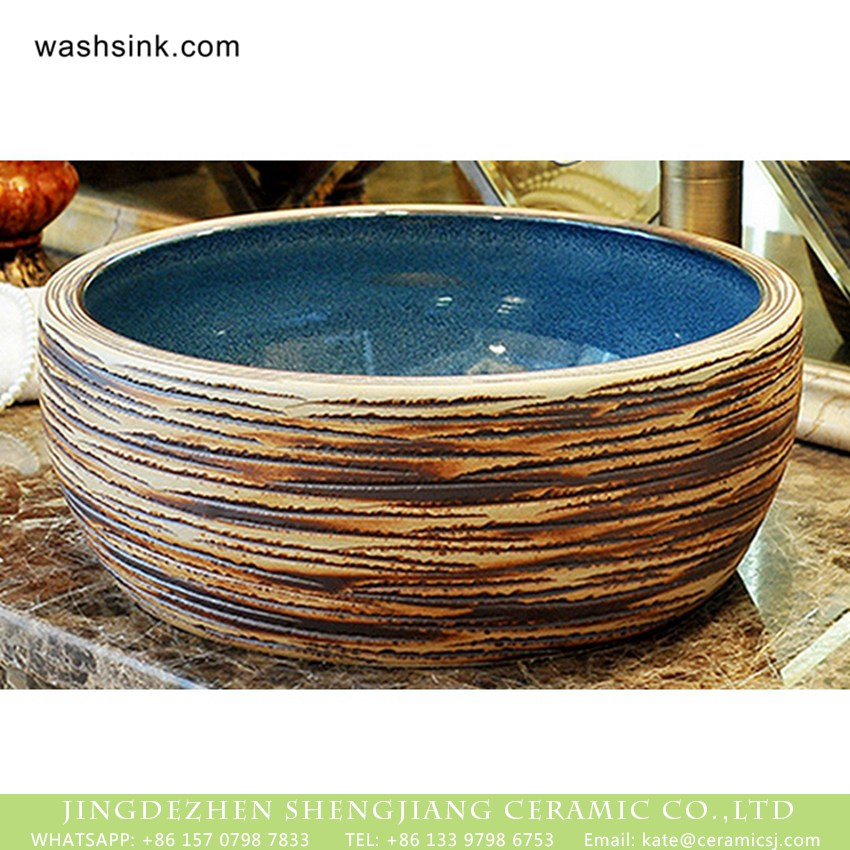 XHTC-X-2078-1 Jingdezhen factory product Chinese antique classical style thick edge domestic bathroom art ceramic basin with smooth blue glazed wall and carved stripes on surface XHTC-X-2078-1 - shengjiang  ceramic  factory   porcelain art hand basin wash sink