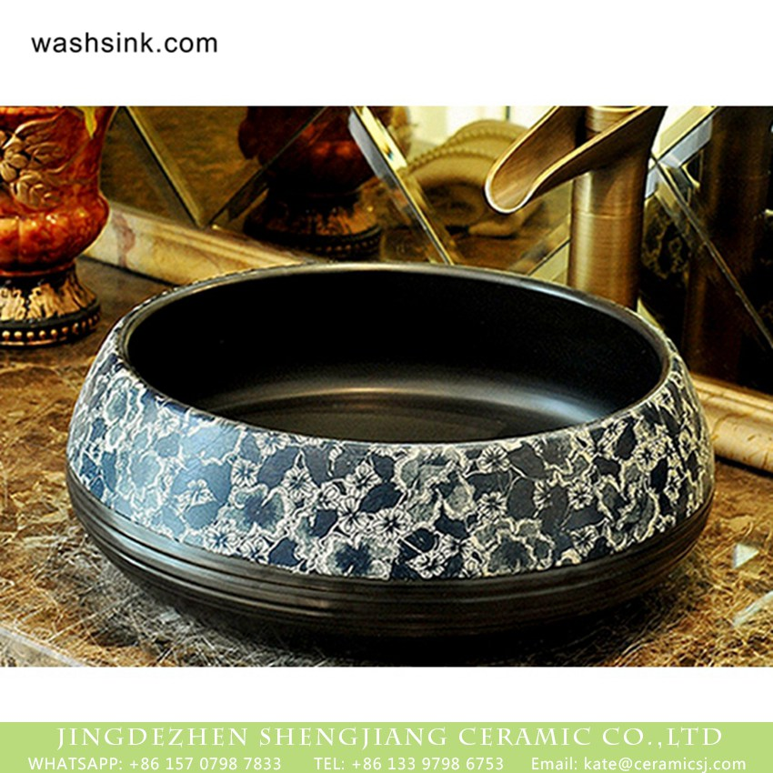 XHTC-X-2080-1 Elegant Chinese classical style retro porcelain sink bowls with glazed black wall pure hand carved whirl striations and blue-and-white floral pattern on surface XHTC-X-2080-1 - shengjiang  ceramic  factory   porcelain art hand basin wash sink