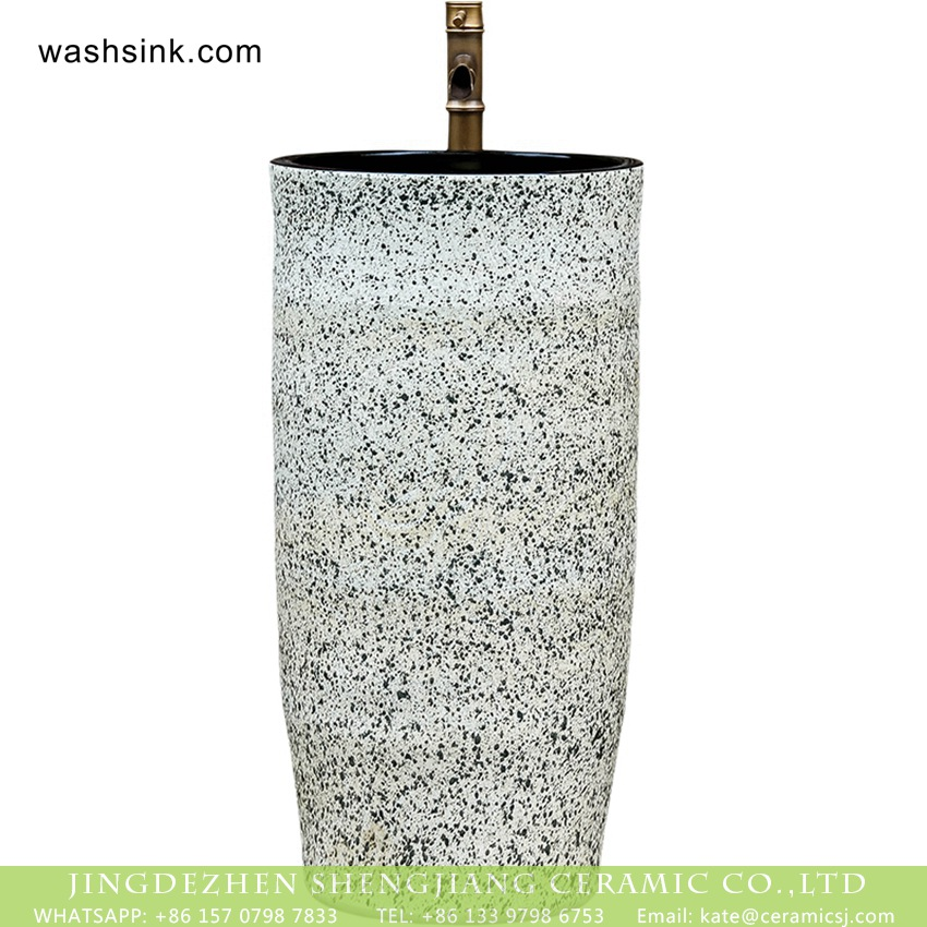 XHTC-Y-6005-4 Jingdezhen new products bathroom balcony decorative art one piece pedestal porcelain wash basin with black high gloss wall and white color with spots surface XHTC-Y-6005-4 - shengjiang  ceramic  factory   porcelain art hand basin wash sink