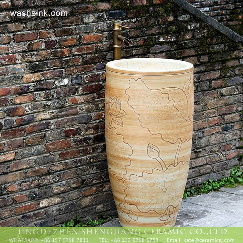 XHTC-Y-6006-6 Hot Sales country style elegant special design art handmade wood color ceramic pedestal washroom balcony wash hand basin with carved lotus pattern XHTC-Y-6006-6 - shengjiang  ceramic  factory   porcelain art hand basin wash sink