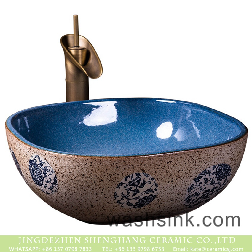 XXDD-02-4 Shengjiang factory wholesale price foursquare Chinese style antique ceramic home bathroom sanitary ware with color glazed blue high gloss wall and flower pattern on the surface XXDD-02-4 - shengjiang  ceramic  factory   porcelain art hand basin wash sink