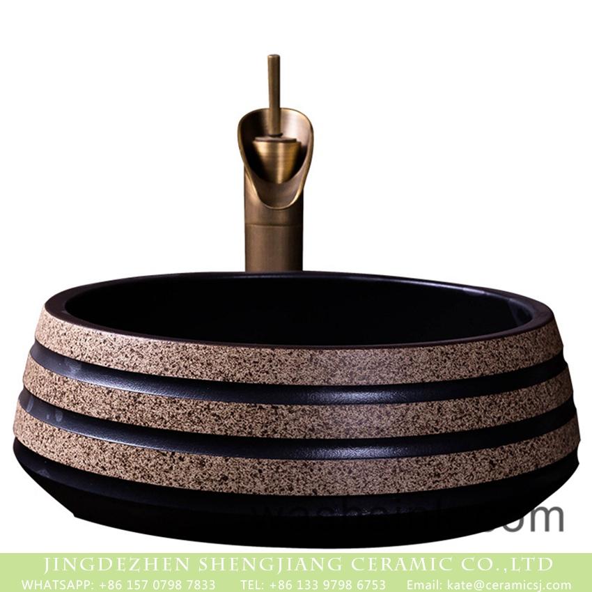 XXDD-04-4 Jingdezhen wholesale price treasure bowl style antique round pedestal modern lavabo art black with spots ceramic sink bowl XXDD-04-4 - shengjiang  ceramic  factory   porcelain art hand basin wash sink