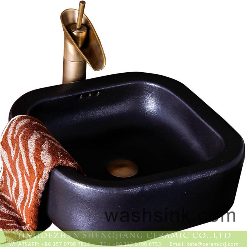 XXDD-15-5 Jingdezhen elegant modern art foursquare black color single hole lavabo XXDD-15-5 - shengjiang  ceramic  factory   porcelain art hand basin wash sink