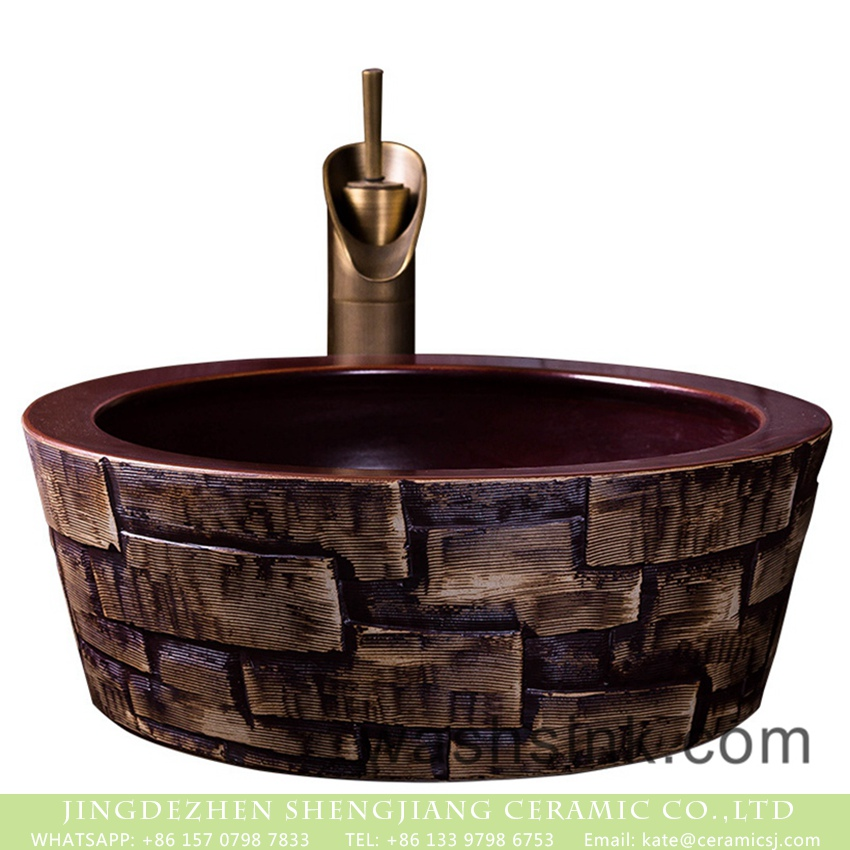 XXDD-31-1 Jingdezhen wholesale Chinese antique retro country style round porcelain hotel bathroom countertop basin with glazed dark red color wall and irregular bar pattern surface XXDD-31-1 - shengjiang  ceramic  factory   porcelain art hand basin wash sink