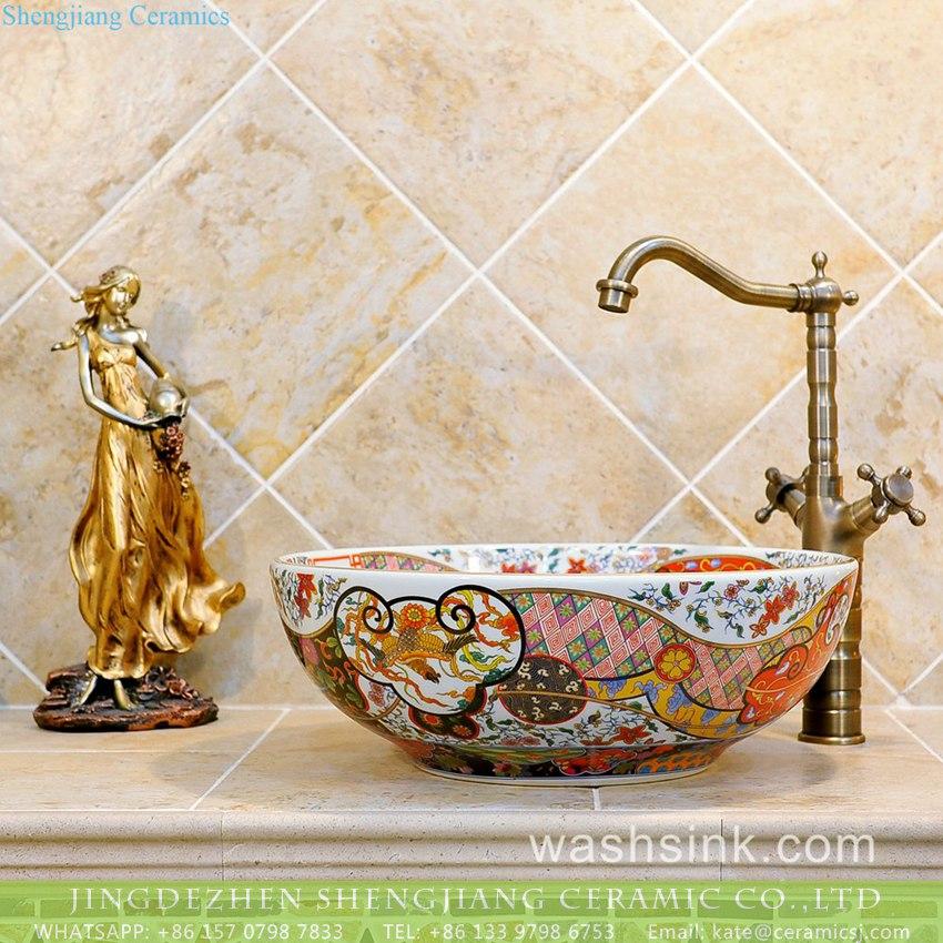 Luxury Colorful Retro Enamel Caremic Bathroom Sink With Mysterious Golden Pattern And Chinese Characteristics Txt06a 1 China Jingdezhen Shengjiang Ceramics Factory Porcelain Art Wash Hand Sink Art Basin Bathroom