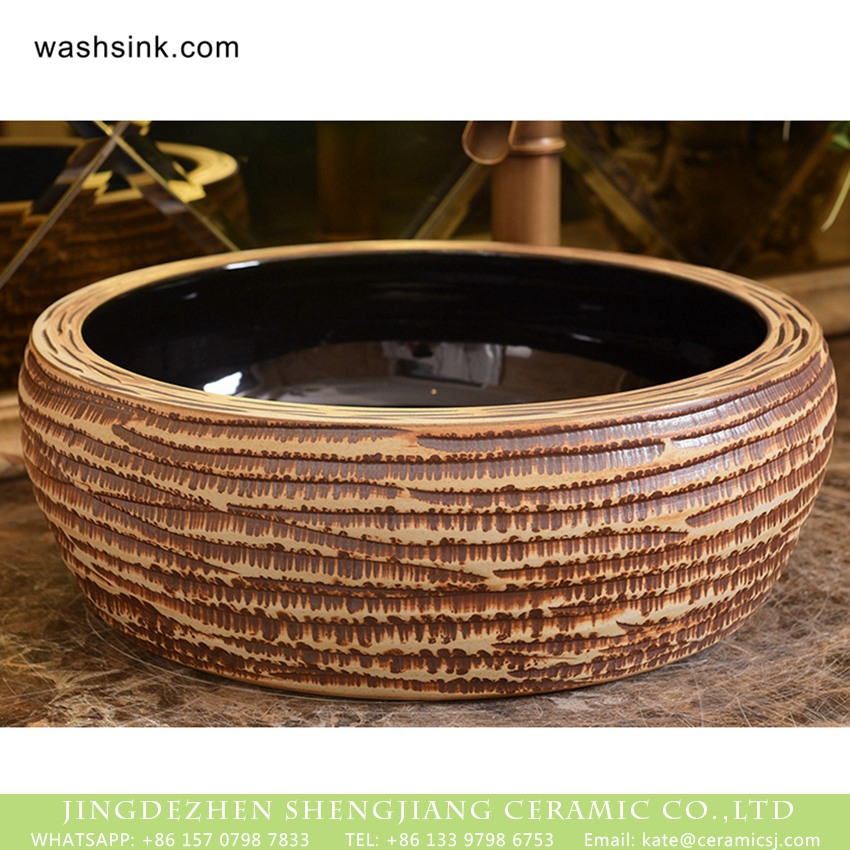 XHTC-X-1022-1 Jingdezhen Shengjiang porcelain factory drum shaped glazed wash sink with burlywood pattern and sculptured lines XHTC-X-1022-1 - shengjiang  ceramic  factory   porcelain art hand basin wash sink