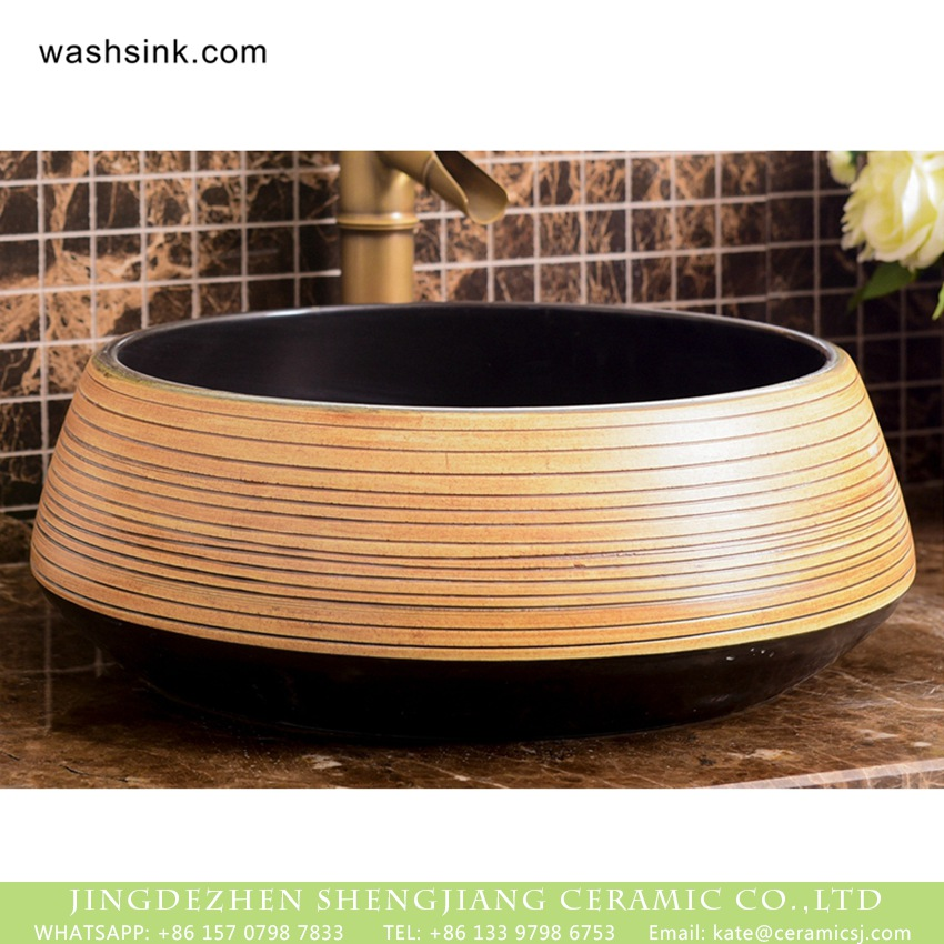 XHTC-X-1048-1 Factory wholesale price art vasculiform shape black ceramic lavabo with regular manual sculptured wood color stripes XHTC-X-1048-1 - shengjiang  ceramic  factory   porcelain art hand basin wash sink