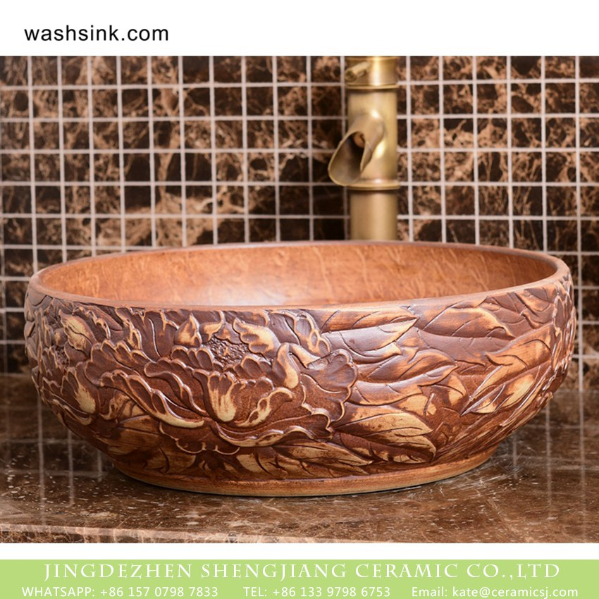 XHTC-X-1093-1 Chinoiserie archaized high quality wood color sanitary ware with manual sculptured and originally designed flower pattern XHTC-X-1093-1 - shengjiang  ceramic  factory   porcelain art hand basin wash sink