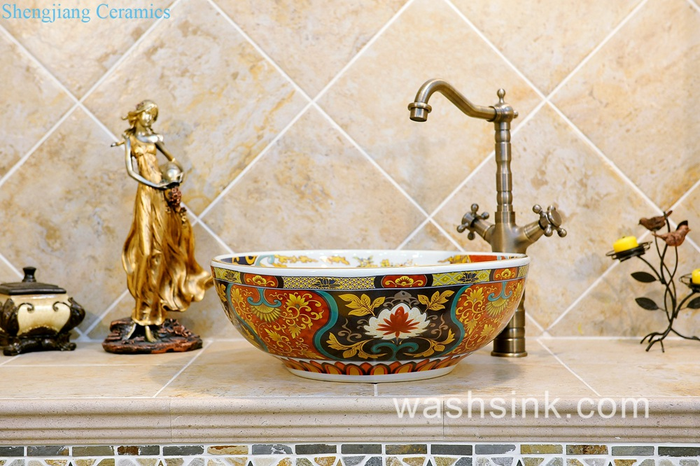 Jingdezhen Shengjiang Porcelain Japanese Style Elegant Gorgeous Retro Round  Overglaze Color Wash Sink With Golden Pattern And Archaized Chrysanthemum