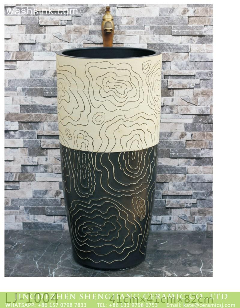 LJ-1004 Hot sales product black and white antique ceramic modern design outdoor vanity basin LJ-1004 - shengjiang  ceramic  factory   porcelain art hand basin wash sink