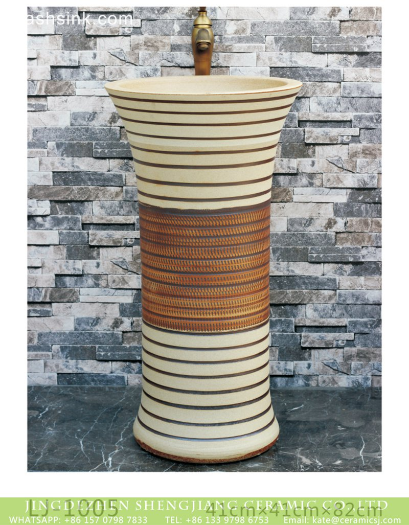 LJ-1005 Jingdezhen wholesale shape white and brown color with hand carved lines one-piece basin LJ-1005 - shengjiang  ceramic  factory   porcelain art hand basin wash sink