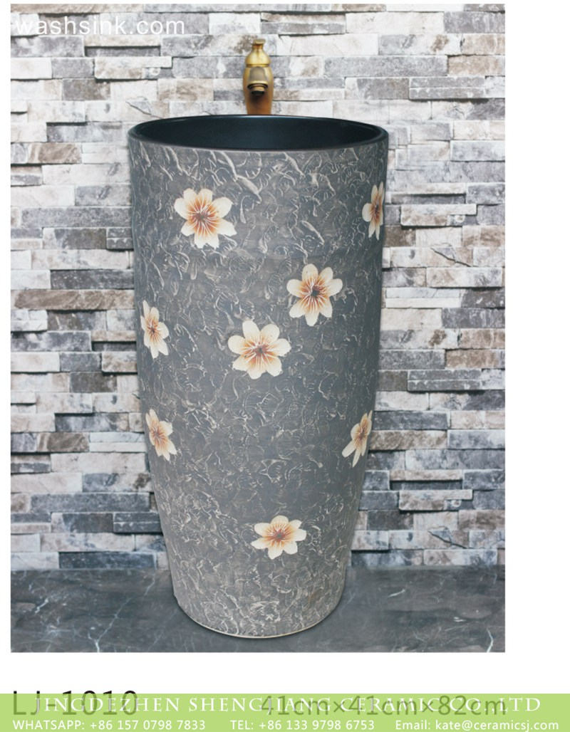 LJ-1010 Porcelain city Jingdezhen grey color with beautiful flowers pattern outdoor lavabo LJ-1010 - shengjiang  ceramic  factory   porcelain art hand basin wash sink
